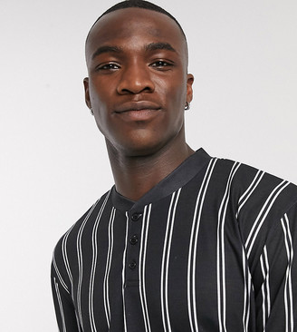 ASOS DESIGN Tall relaxed long sleeve vertical stripe t-shirt with grandad bomber neck
