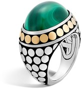 John Hardy 18K Yellow Gold and Sterling Silver Dot Dome Ring with Malachite