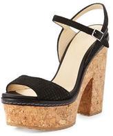 Jimmy Choo Naylor Textured Suede Platform Sandal, Black