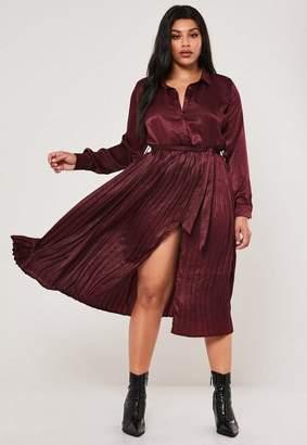 Missguided Plus Size Wine Hammered Satin Pleated Midi Dress