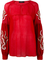 Wandering - embroidered chiffon blouse - women - Silk/Cotton/Viscose - 40