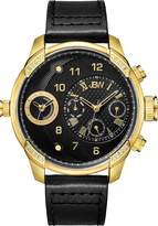 JBW J6325H G3 Swiss-Quartz Dual Time Zone 16 Diamond Leather Men's Wrist Watch