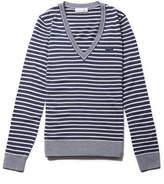 Lacoste Women's V-neck Bicolor Striped Wool Jersey Sweater
