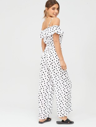 Very Wide Leg Cold Shoulder Crinkle Jumpsuit - Spot Print