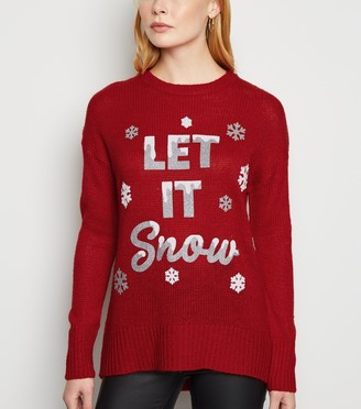 New Look Let It Snow Slogan Christmas Jumper