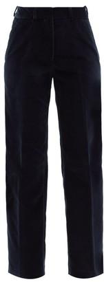 Officine Generale New Celeste Cotton-velvet Straight-leg Trousers - Navy