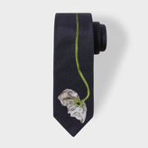 Paul Smith Men's Black Narrow Silk Tie With Large Embroidered Flower
