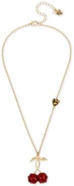 "Betsey Johnson Gold-Tone Pave Cherry Pendant Necklace, 18"" + 3"" extender"