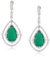 "Judith Ripka Sophia"" Sterling Silver and Green Chalcedony Drop Earring"