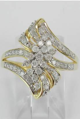 Margolin & Co 1/2 carat Diamond Cluster Cocktail Ring Right Hand Ring Yellow Gold Size 7