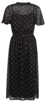 Dorothy Perkins Womens Black Spot Print Belted Fit And Flare Dress, Black