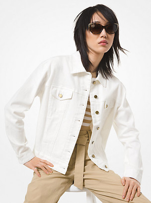 MICHAEL Michael Kors MK Denim Shrunken Boyfriend Jacket - White - Michael Kors