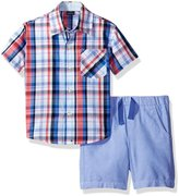 Nautica Toddler Boys' Short Sleeve Plaid Button Down Shirt and Pull on Short Set