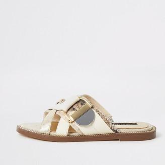 River Island Cream buckle studded strap sandals