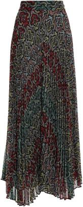 Alice + Olivia Asymmetric Printed Plisse-crepon Maxi Skirt