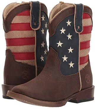 Roper American Patriot (Toddler) (Brown Faux Leather Vamp Stars & Stripes Shaft) Cowboy Boots