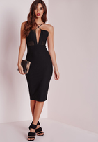 Missguided Textured Strappy Mesh Insert Midi Dress Black