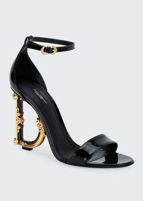 Dolce & Gabbana Patent Leather Sandals with Logo Heel