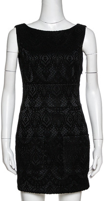 Pierre Balmain Black Jacquard Backless Mini Dress S