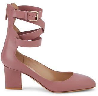Valentino Rockstud Leather Ankle-Wrap Pumps