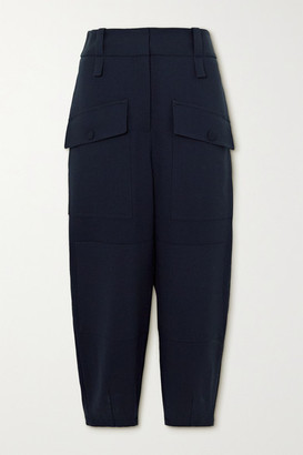 Stella McCartney Cecilia Wool-blend Crepe Tapered Pants - Navy