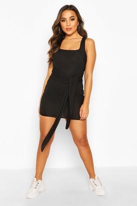 boohoo Petite Rib Square Neck Tie Front Bodycon Dress