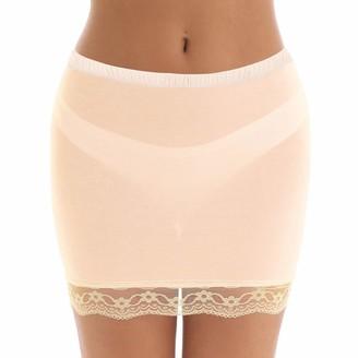 YUUMIN Woman's Lace Hem Half Slip Short Underskirt Petticoat Sheer Stretchy Bodycon Mini Skirt Lingerie Nude XL