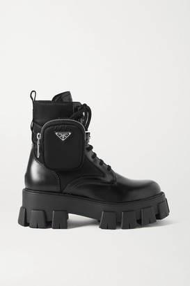 Prada Monolith Leather And Nylon Ankle Boots - Black
