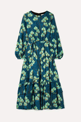 Borgo de Nor Augustina Belted Printed Silk-satin Midi Dress - Blue