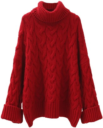 Goodnight Macaroon 'Jacobina' Cable Knit Roll Neck Long Sweater (3 Colors)