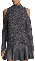 Rebecca Taylor Open-Shoulder Tweedy-Knit Pullover