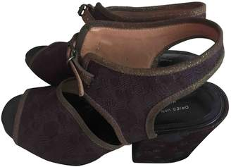 Dries Van Noten Burgundy Cloth Sandals