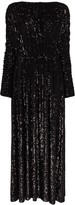 Saint Laurent ruched sequin maxi dress