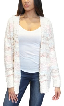 Crave Fame Juniors' Faux-Sherpa-Trim Hooded Cardigan