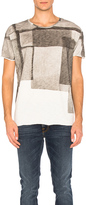 Nudie Jeans Unfinished Hem Club Collage T Shirt