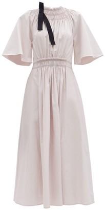 Roksanda Shia Shirred Cotton-poplin Dress - Light Pink
