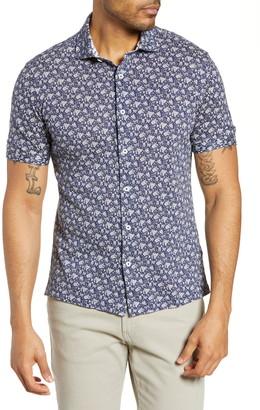 Bugatchi Regular Fit Floral Print Knit Cotton Sport Shirt