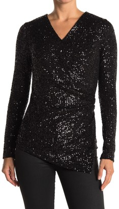 Fifteen-Twenty Sequin Long Sleeve V-Neck Top
