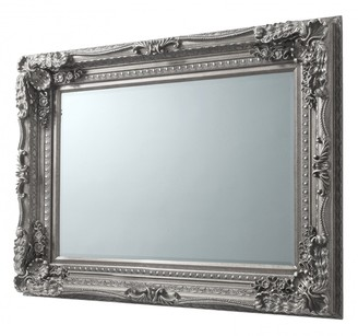Gda Carved French Wall Mirror Antique Silver