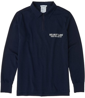 Helmut Lang Long-Sleeve Quarter-Zip Logo Polo