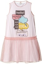 Fendi Text Message Graphic Dress w/ Tulle Overlay Girl's Dress