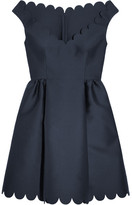 RED Valentino Scalloped Twill Mini Dress - Navy