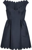 RED Valentino Scalloped Twill Mini Dress - Navy