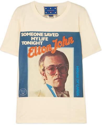 Gucci Elton John Printed Cotton-jersey T-shirt - Off-white