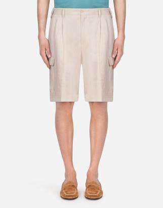 Dolce & Gabbana Bermuda Cargo Shorts In Linen