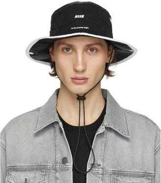 MSGM Black Logo Strap Bucket Hat