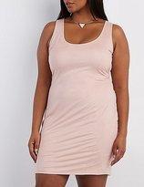 Charlotte Russe Plus Size Faux Suede Scoop Neck Dress