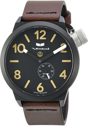 Vestal Canteen Italia Stainless Steel Japanese-Quartz Watch with Leather Calfskin Strap