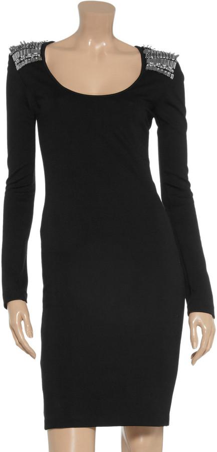 McQ Embellished stretch-jersey dress