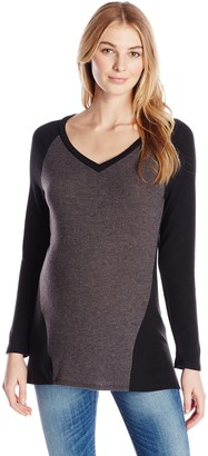 Three Seasons Maternity Women's Long Sleeve V Neck 2 Color Top